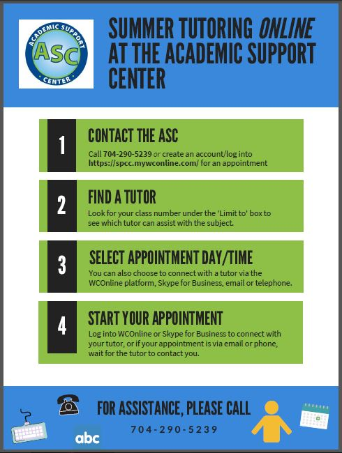 This image is a copy of a flyer which lists directions for how to contact, schedule, and utilize tutoring resources available to students.